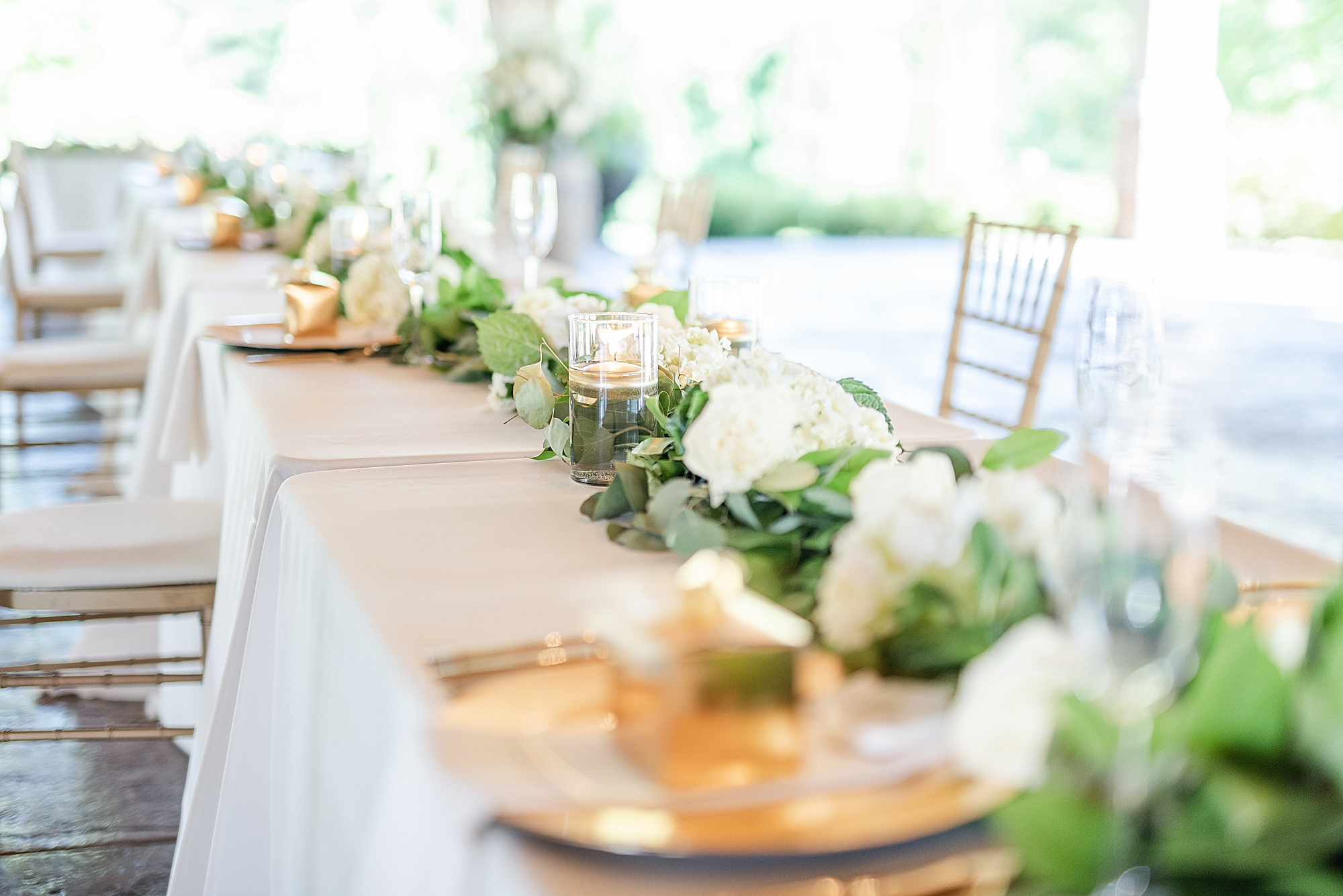 gold and ivory wedding reception details for Ohio wedding