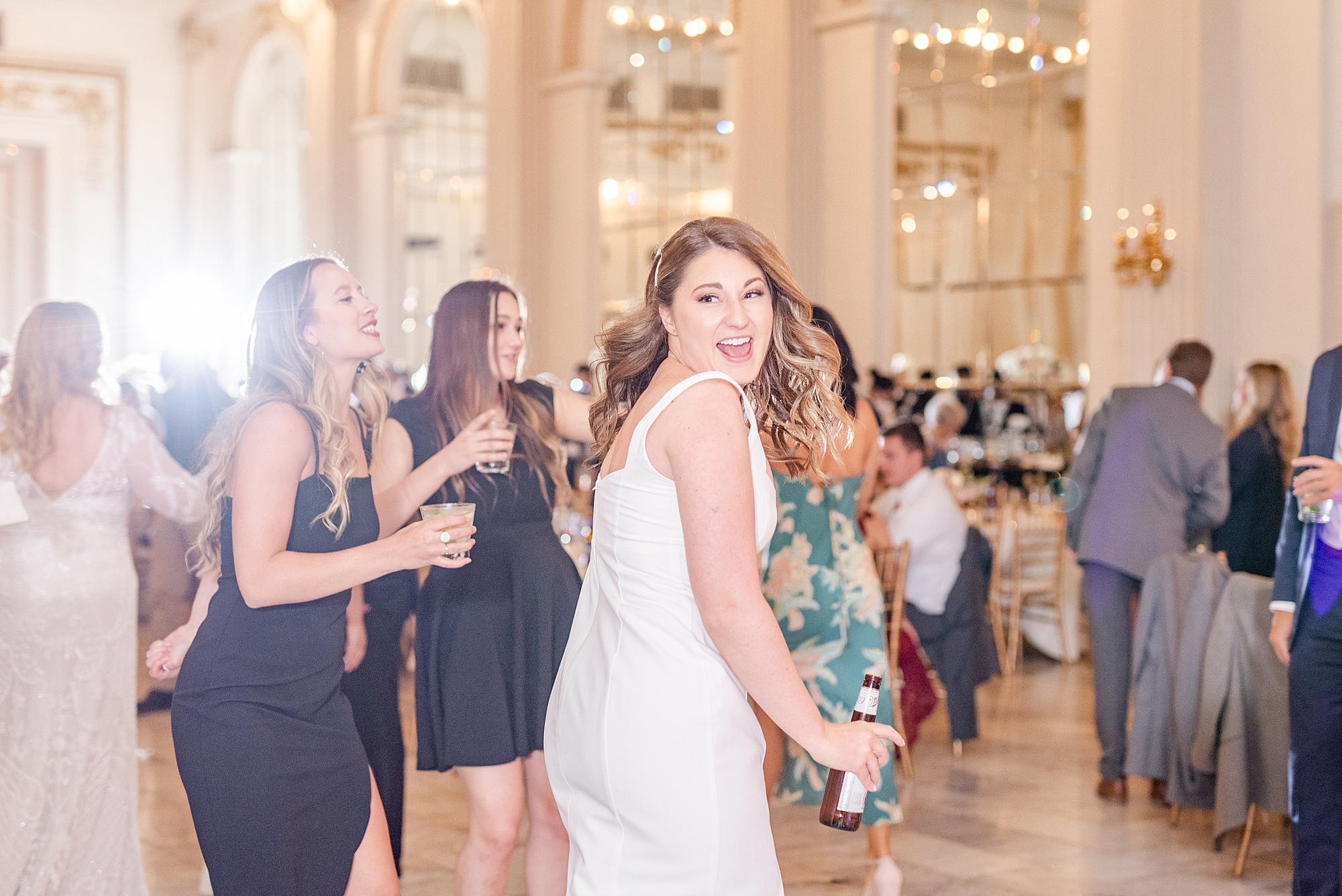 bridesmaid dances during Ohio reception